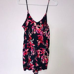 Aeropostale Floral Romper Blue/Pink Size Small